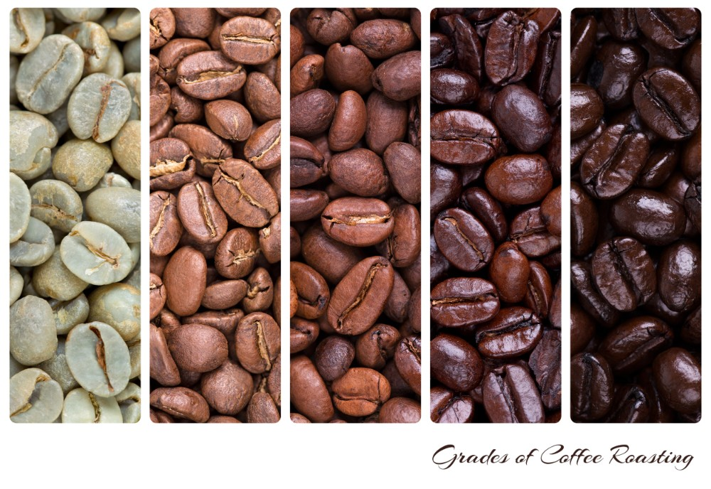 Grades of Coffee Roasting from White to Black
