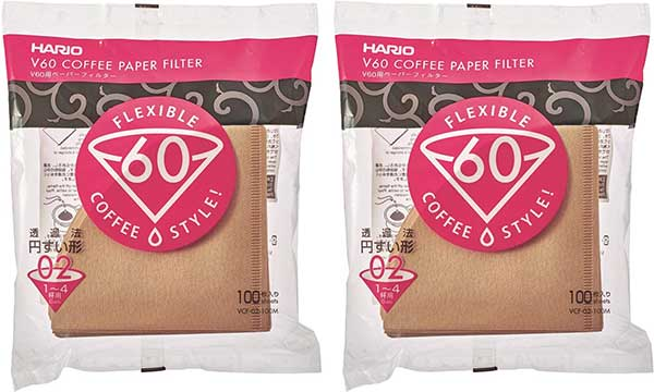 Hario 02 100 Count Coffee Natural Paper Filters