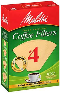 Melitta  #4 Cone Coffee Filter , Natural Brown, 100 Count