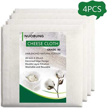NUOBUNG Cheesecloth, 20X20-Inch , Grade 90-100 Unbleached Organic Cotton