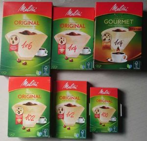 Selection of Melitta coffee filters