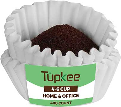 Tupkee Coffee Filters 4-6 Cup - Junior Basket Style , 400 Count , White Paper, Chlorine Free