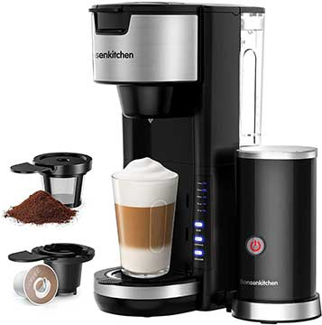 Bonsenkitchen Single Serve Coffee Maker With Milk Frother