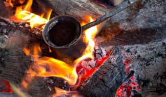 coffee being made on an open fire without a filter