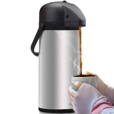 Airpot Coffee Dispenser with Pump - Insulated Stainless Steel Coffee Carafe