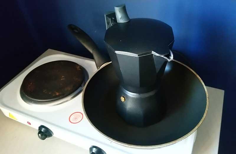 Moka Pot In Frying Pan