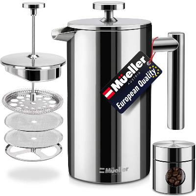 Mueller French Press Double Insulated 310 Stainless Steel Coffee Maker 4 Level Filtration System