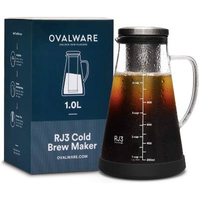 Ovalware Airtight Cold Brew Iced Coffee Maker and Tea Infuser with Spout - 1.0L  34oz Ovalware RJ3 Brewing Glass Carafe with Removable Stainless Steel Filter