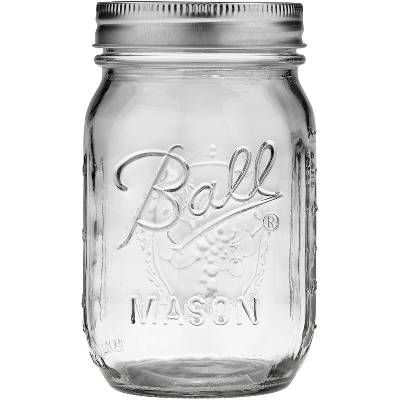 Single Jarden Ball Regular Mouth 16-Ounces Mason Jar