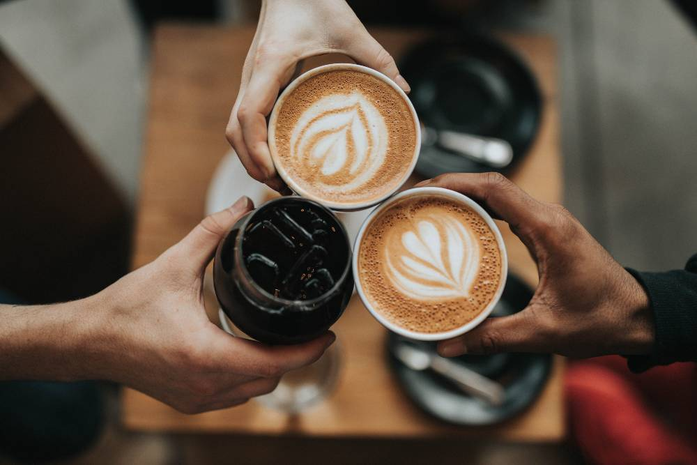 Three different types of coffee - cheers