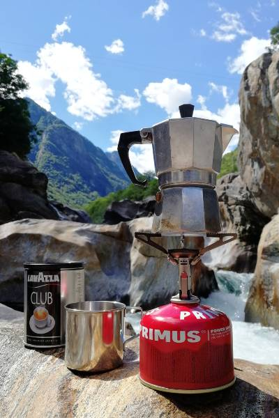 A Moka Pot brewing In The Wilderness