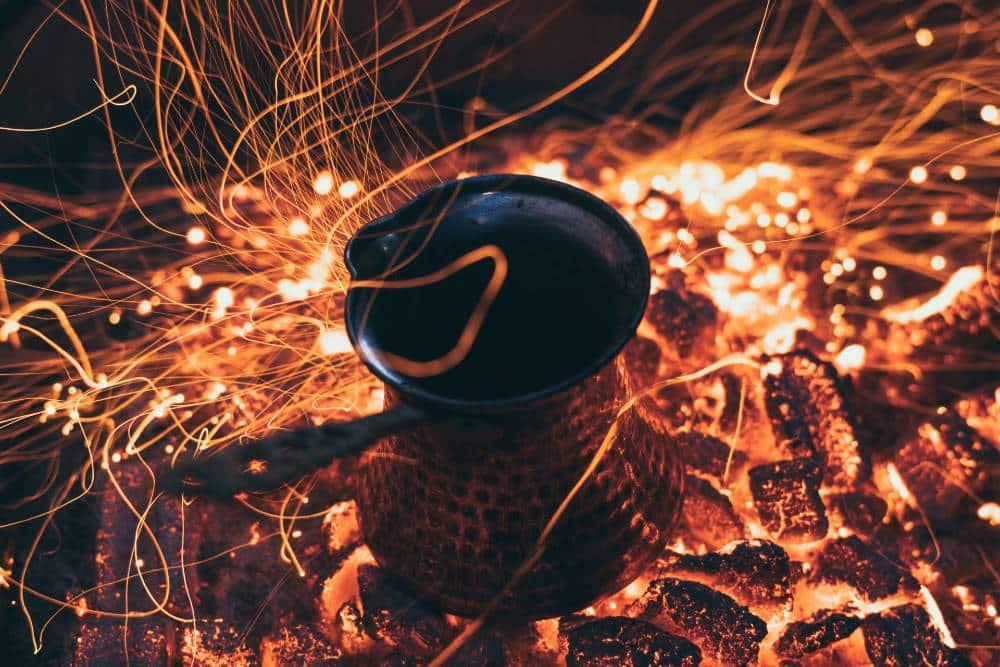 A Turkish Coffee Pot in an Open Fire