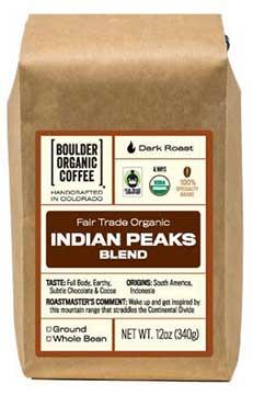 Boulder Organic Coffee's Indian Peaks Blend, Fair Trade & Organic
