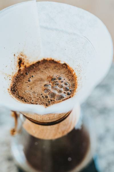 Coffee Blooming In A Chemex