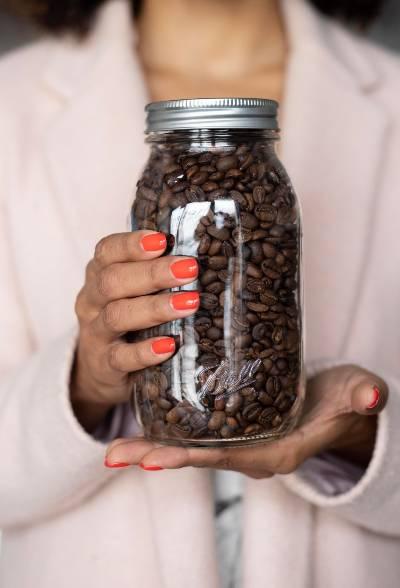 A massive jar of coffee beans