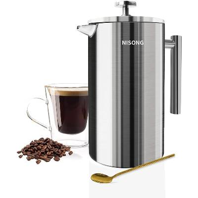 French Press Coffee Maker 50Oz Double Walled Stainless Steel French Press 1.5L Coffee Tea Maker with Extra Filter Screens Dishwasher Safe (12 Cups)