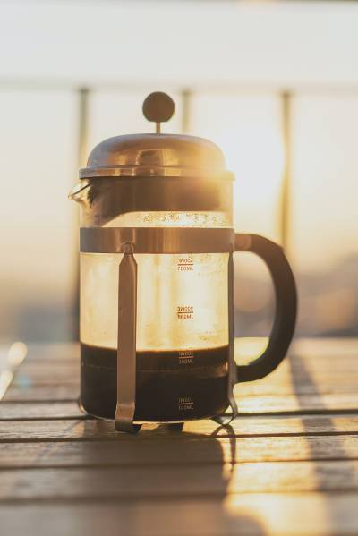 a gorgeous french press in the sunlight
