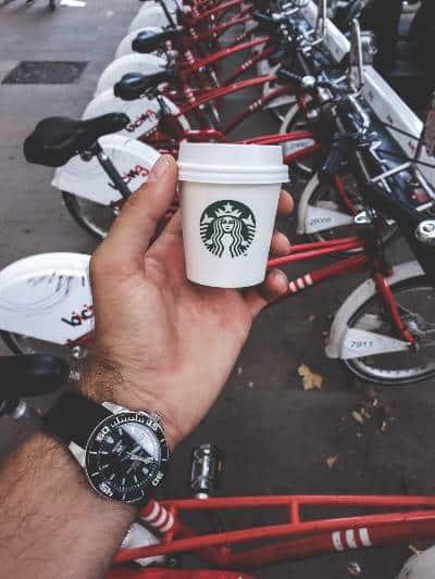 a tiny starbucks espresso cup