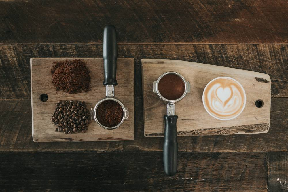 all stages of a latte from bean to cup