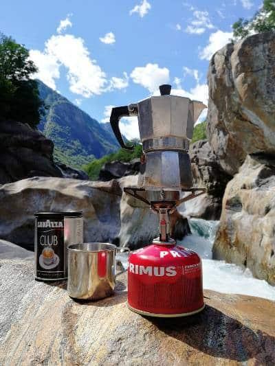 making moka pot coffee while camping