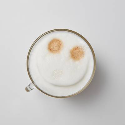 A Cappuchino with frothed milk from above