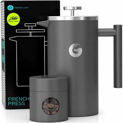 Coffee Gator French Press Coffee Maker- Insulated, Stainless Steel Manual Coffee Maker