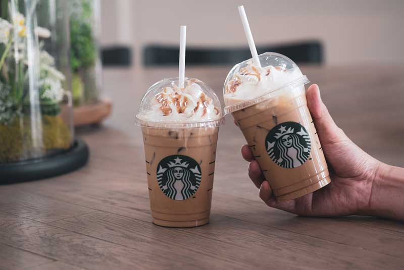 Iced frappuccino drink at Starbucks