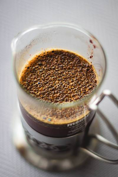 coffee brewing in a french press