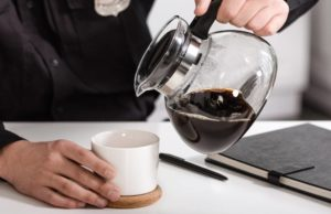 pouring a jug of drip coffee