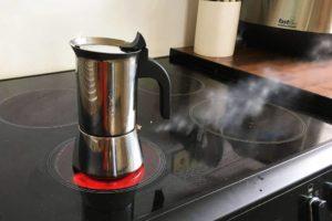 A Moka Pot Venting Steam Due To OverPressure