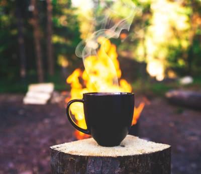 A mug of coffee on fire
