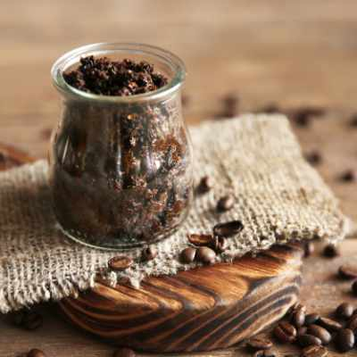 a small jar of coffee body scrub