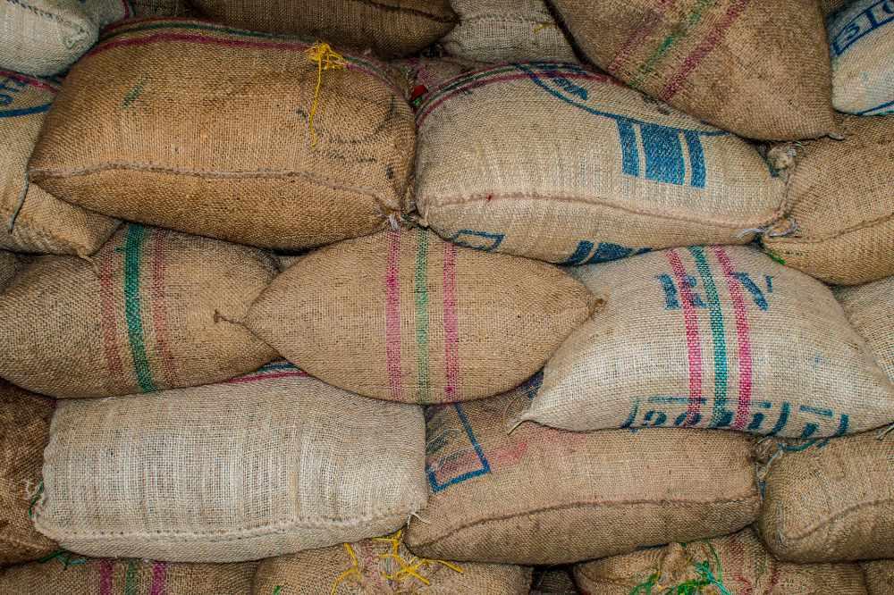 A pile of sacks of coffee