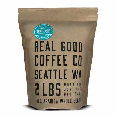 Real Good Coffee Co Whole Bean Coffee Donut Shop Medium Roast Coffee Beans 2 Pound Bag