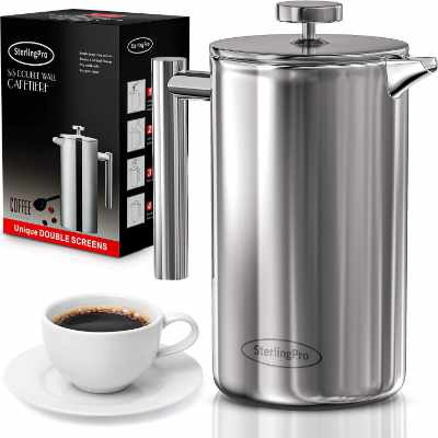 SterlingPro French Press Coffee Maker(1.75L)-Double Walled Large Coffee Press