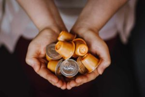A handful of coffee pods