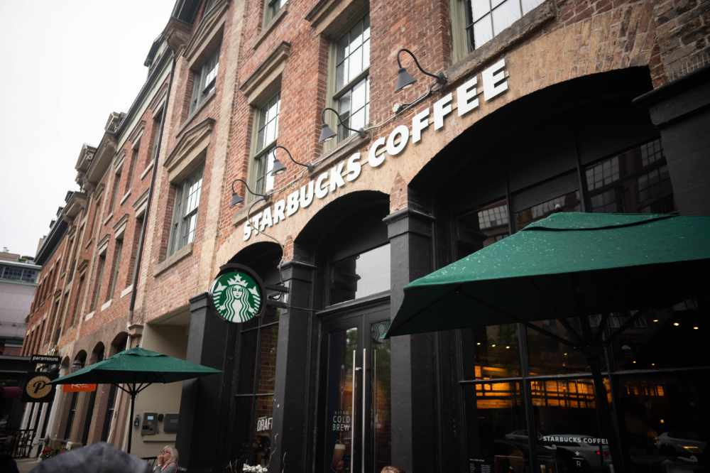 The Front of a Starbucks Coffee Shop