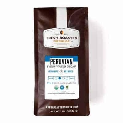 Fresh Roasted Coffee Swiss Water Decaf Peru Organic Fair Trade Kosher Medium Roast