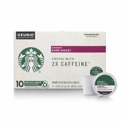 Starbucks Dark Roast K-Cup Coffee Pods with 2X Caffeine — for Keurig Brewers