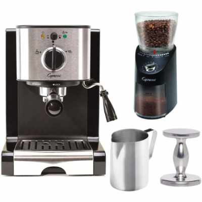 Capresso EC100 Pump Espresso Machine with 570.01 Infinity Plus Coffee Grinder Tamper and Pitcher Value Bundle