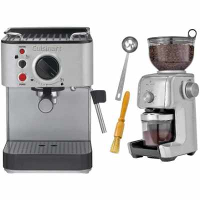 Cuisinart EM-100 Stainless Steel Espresso Maker with Conical Burr Coffee Grinder Bundle