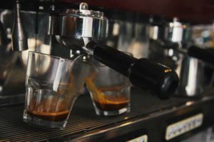 Two espresso shots being pulled